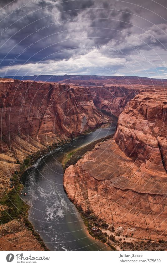 Wonders of nature Nature Landscape Earth Water Sky Clouds Storm clouds Summer Wind Mountain Canyon River bank Enthusiasm Grand Canyon Page Arizona