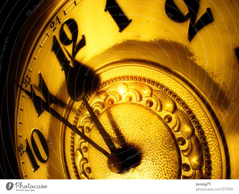 Gold Time Clock Digits and numbers Clock hand Clock face