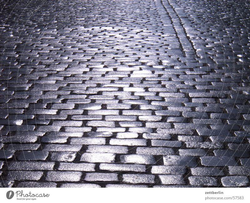 First sun Cobblestones Village road Holperstraße Alley Back-light Glittering Stone Street reflection