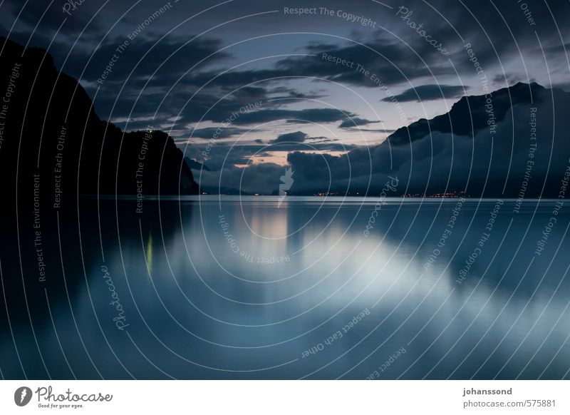 After the thunderstorm Relaxation Calm Landscape Water Clouds Summer Lakeside Dream Blue Moody Serene Nature Colour photo Exterior shot Copy Space bottom