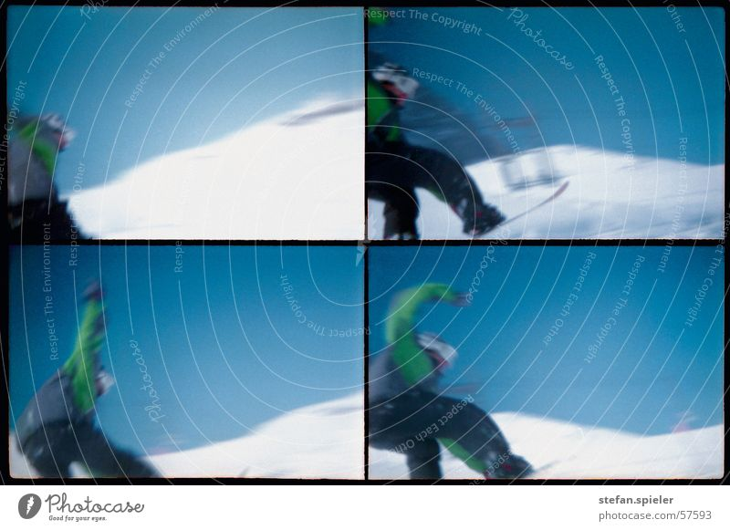 imma touch the sky Snowboard Jump White Ski run Cold Speed Snowboarder Trick Sky Movement Blue Tall Lomography 4 Snowboarding Blue sky Motion blur Posture