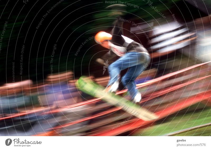 summerair01 Snowboard Sports Ski jump Sporting event Flying Jump Posture Motion blur Speed Downward Colour photo Snowboarder Snowboarding Air Trick jump