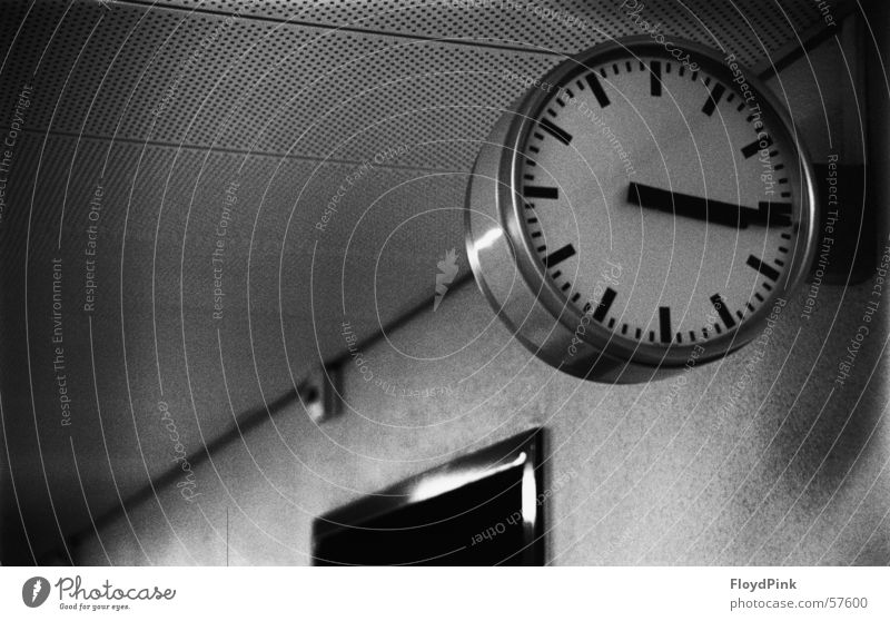 Time Clock Stagnating Black & white photo Canton Bern Grainy
