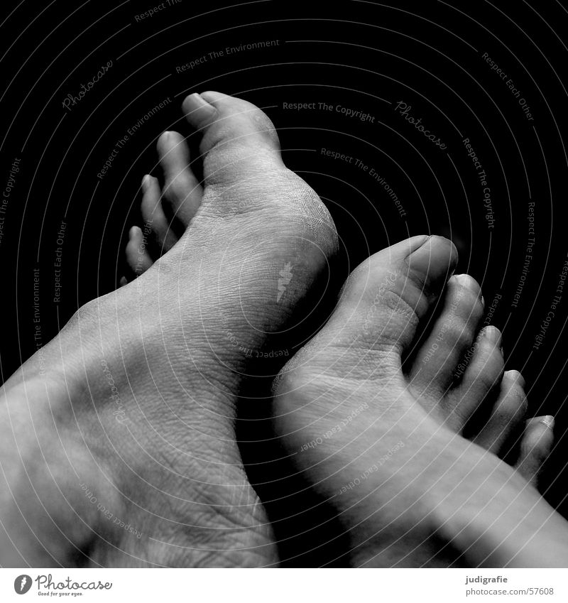 feet Woman Toes Touch Black White 2 Feet Skin Human being Barefoot