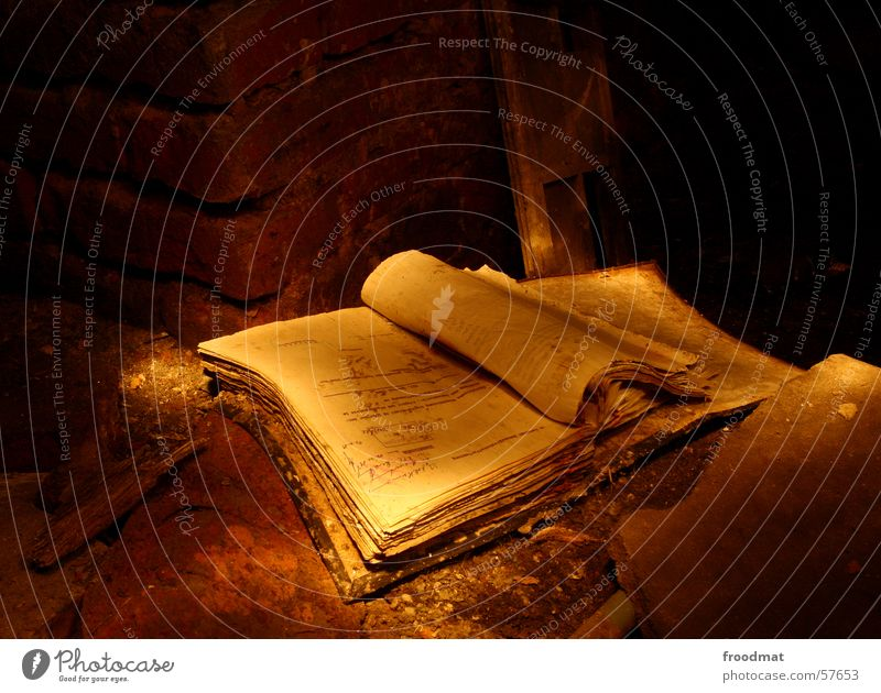 book Book Shift work Yellowed Dirty Dust Decline Ancient Leaf Library Enchanting Manual Nostalgia Wall (barrier) Brick Mystic Long exposure Reading Print media