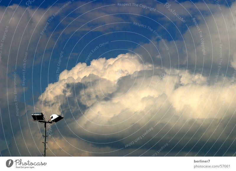 Sky Blue White Clouds Gray Lamp Floodlight Floodlight