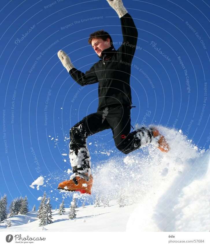 Man Hand Winter Cold Snow Jump Movement To fall Gloves