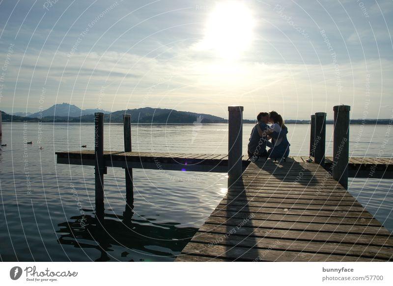 Woman Man Water Sun Joy Love Emotions Lake Friendship Coast Romance Kissing Footbridge Relationship Dusk Zugersee Lake