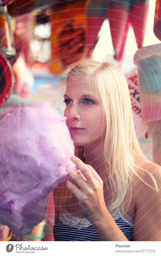 Kööööörmes Food Dessert Candy Cotton candy Joy Feasts & Celebrations Oktoberfest Fairs & Carnivals Feminine Touch Eating Blonde Sweet Multicoloured Colour