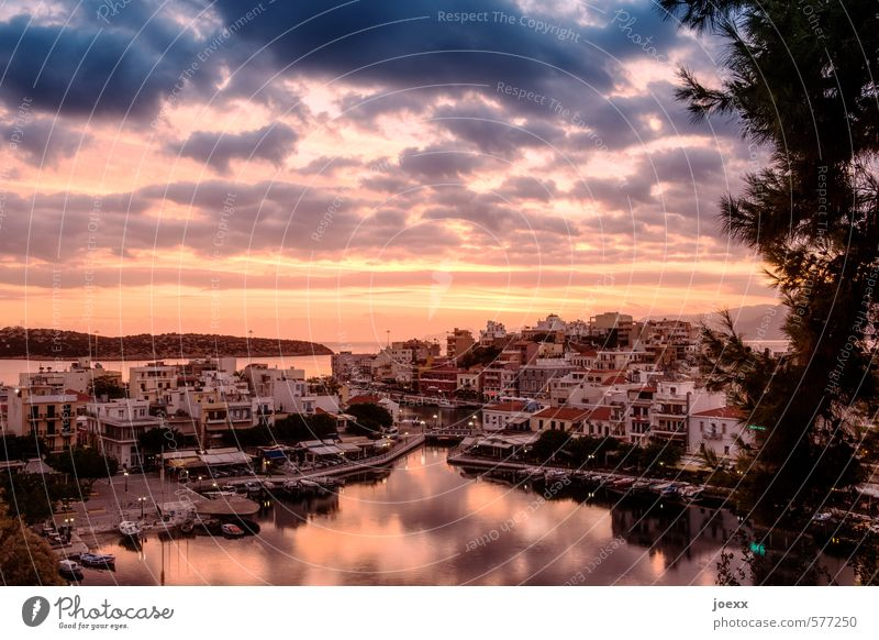 The day begins Sky Clouds Horizon Sunrise Sunset Sunlight Summer Beautiful weather Lakeside Island Small Town Port City Downtown Old town Esthetic Original Blue