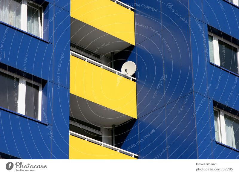 IKEAliving House (Residential Structure) Flat (apartment) Prefab construction Yellow Balcony Window Antenna Satellite dish Cold Direct Tenant Small Possessions