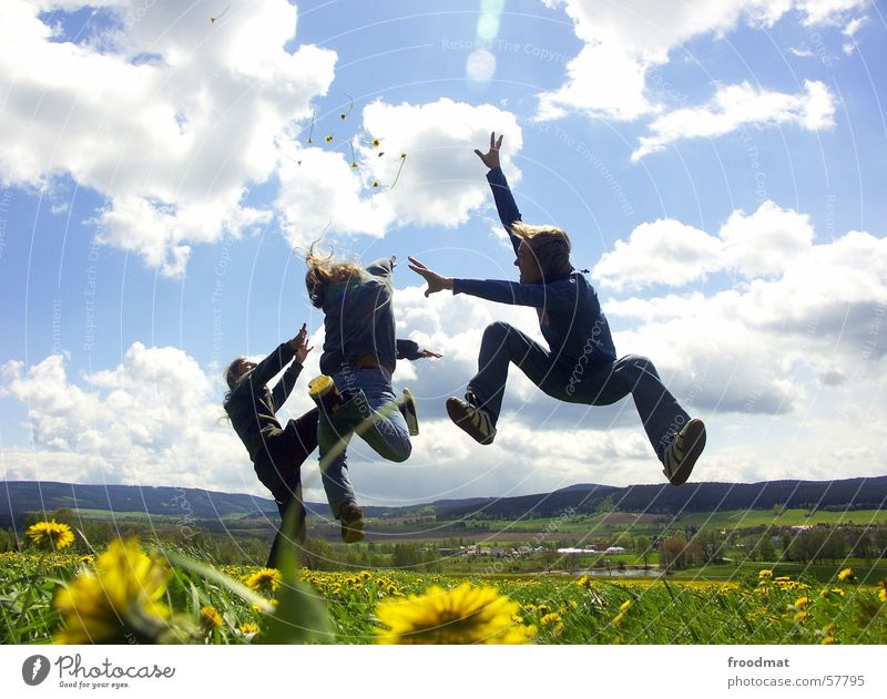 Sky Nature Youth (Young adults) Green Beautiful Sun Summer Flower Joy Clouds Relaxation Meadow Mountain Life Warmth Playing