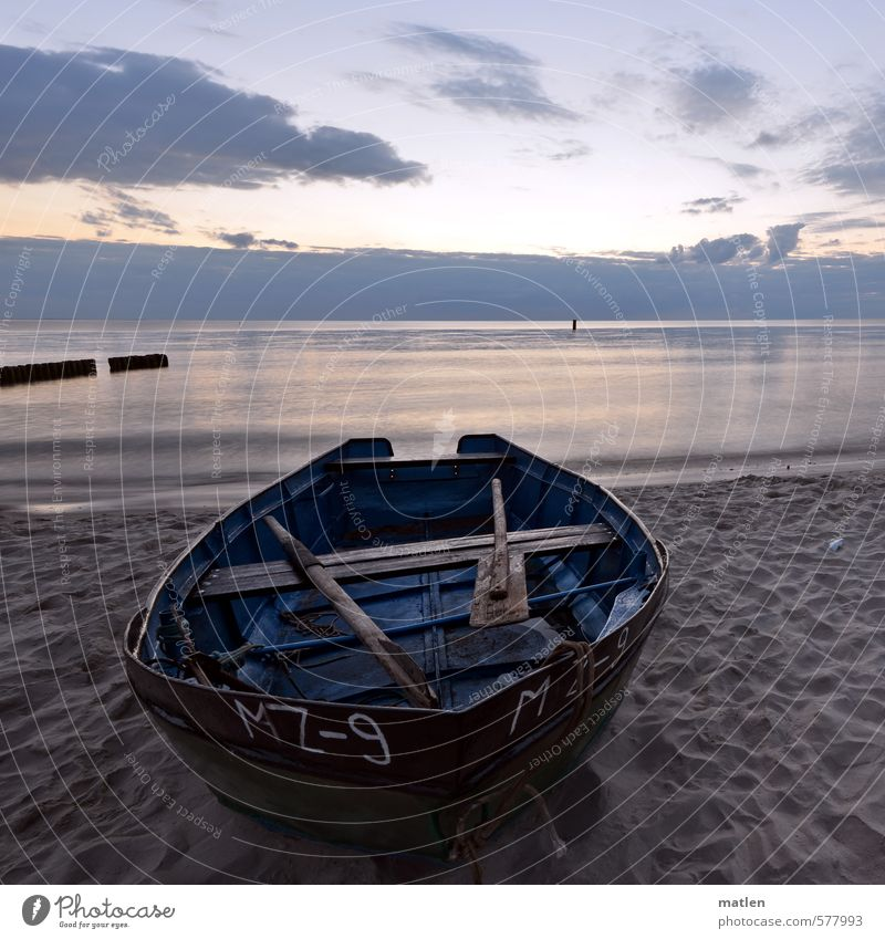 barge Landscape Sand Water Sky Clouds Night sky Horizon Sunrise Sunset Weather Beautiful weather Coast Beach Ocean Boating trip Fishing boat Footprint Blue Gray