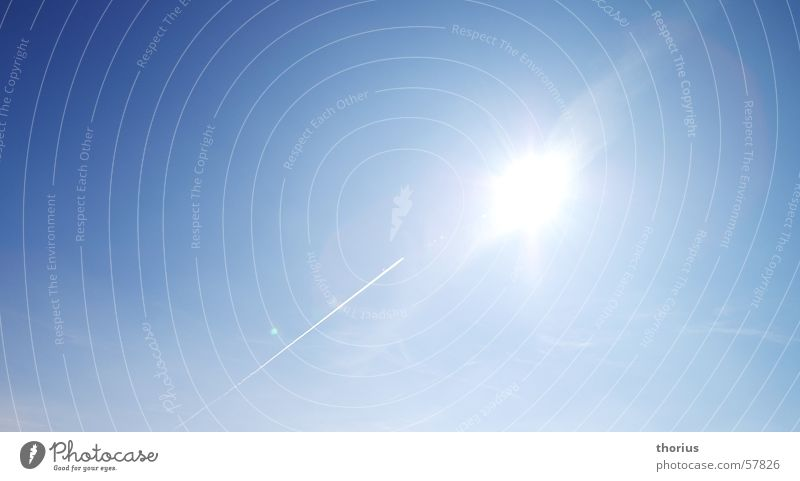 Sky Sun Blue Airplane Vapor trail