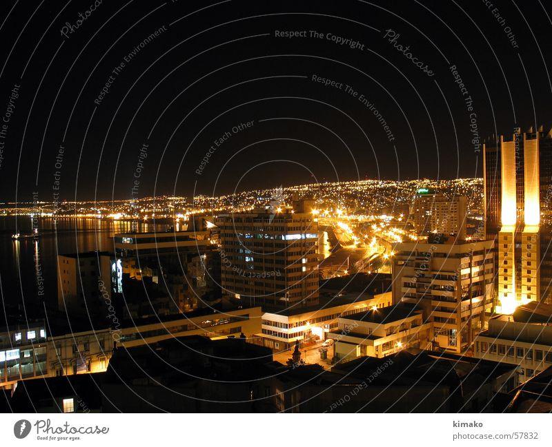 City Black Building Chile Night shot South America Valparaíso