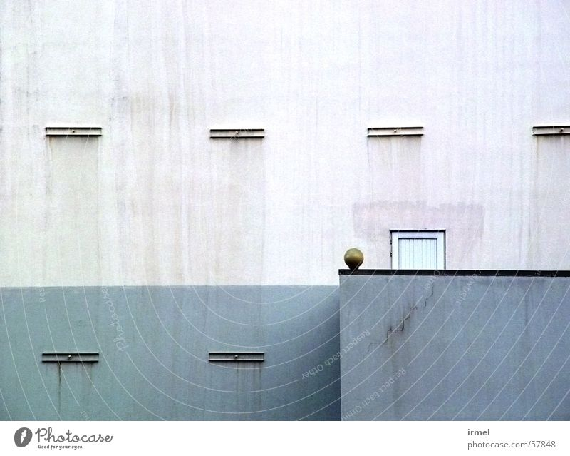 bowl Minimal Graphic Background picture Cold Wall (building) Wall (barrier) Detail Derelict less Front side architecture white color blue Reduce Line lines