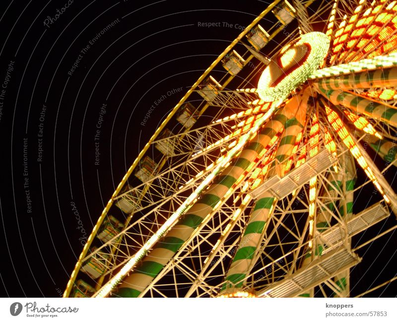 ferris wheel at night Theme-park rides Ferris wheel Festival Shooting match Amusement Park Holy Synod Night Dark Light Romance Exterior shot Visual spectacle