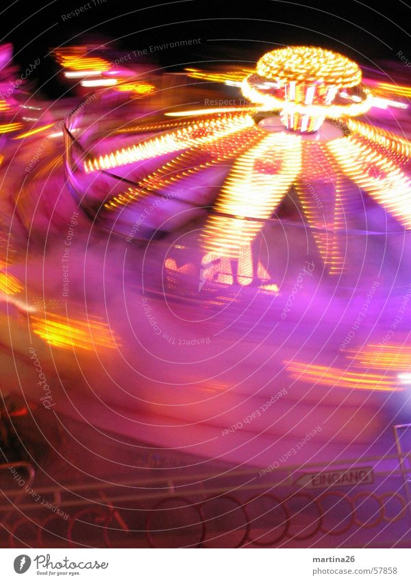 Please hurl again 2 Carousel Fairs & Carnivals Lifeless Speed Rotate Light Night Dark Multicoloured Pink Leisure and hobbies Theme-park rides Joy Fog