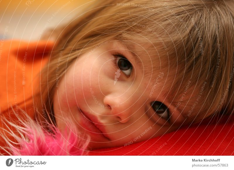 Child Girl Red Warmth Orange Soft Physics Dreamily Absentminded