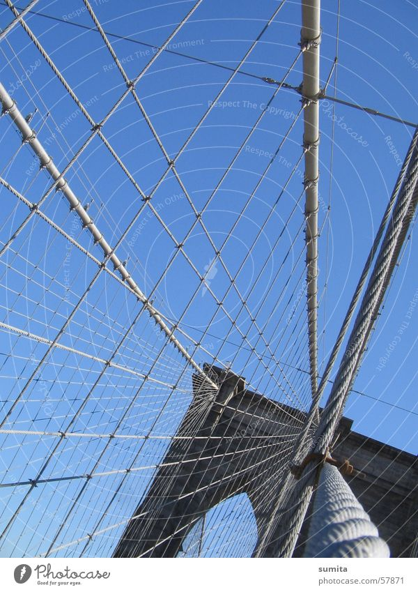 brooklyn bridge Gray New York City Bridge Rope Net Sky Blue