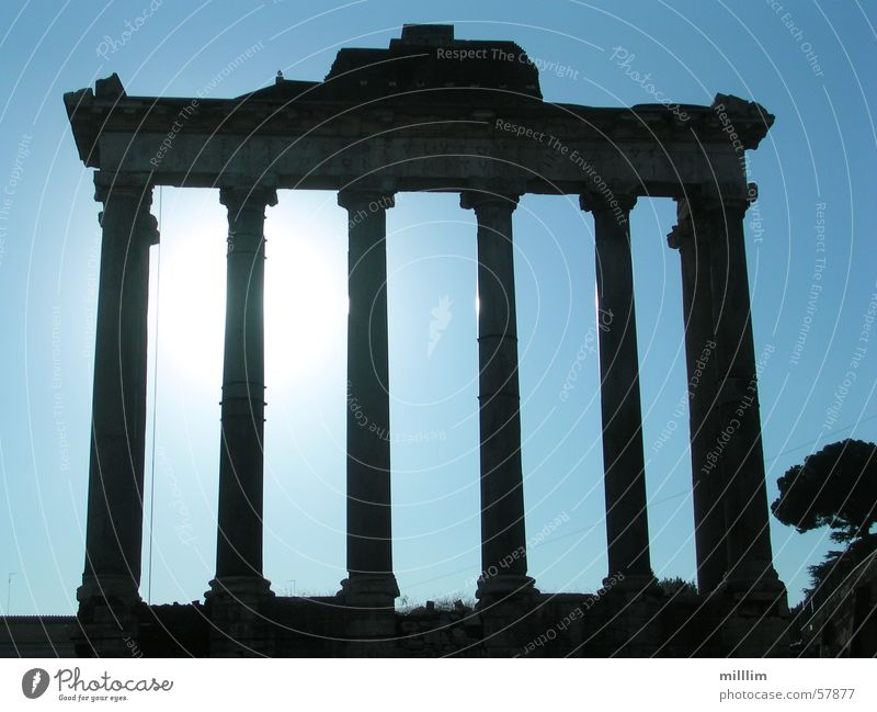 Old Blue White Black Dark Line Europe Might Italy Monument Column Ancient Capital city Rome Monumental