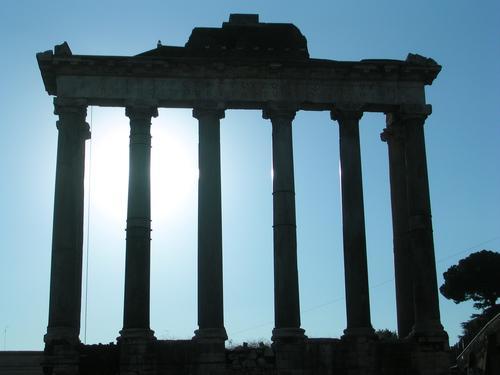 Roman Forum Line Shadow Light Blue Black White Dark Rome Column Forum Romano Römerberg Ancient Old Contrast Italy Capital city Europe Monumental Might Massive