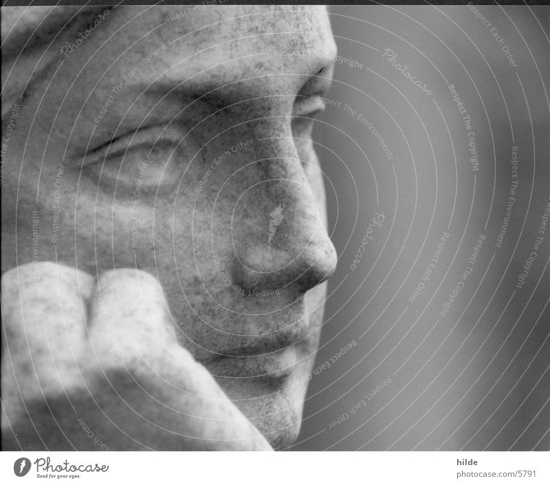 thinking Statue Cemetery Portrait photograph Woman Leisure and hobbies Face Stone