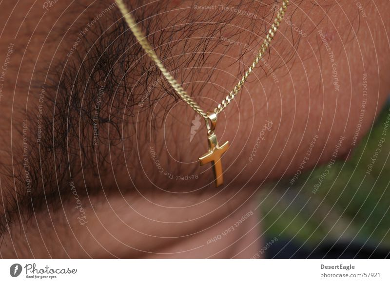 Hairy cross Man Religion and faith Back Gold Chain Close-up