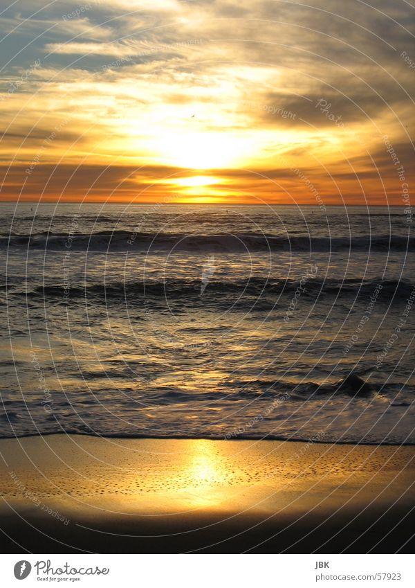 Santa Monica Beach Ocean Sunset Evening sun Waves Reflection