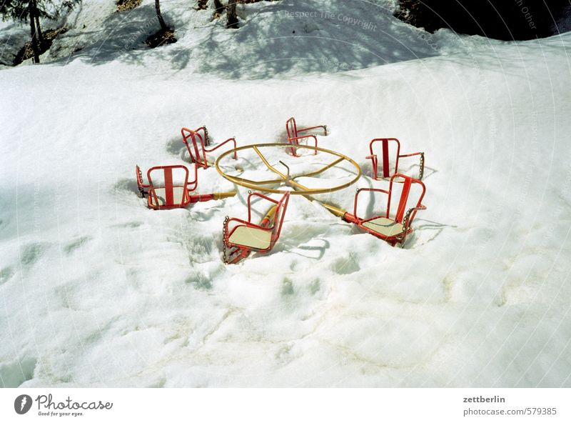 winter Carousel Playing Playground Snow Snowfall Winter Winter vacation Snow layer Ice crystal Winter forest Snowscape Winter festival Tracks Snow track