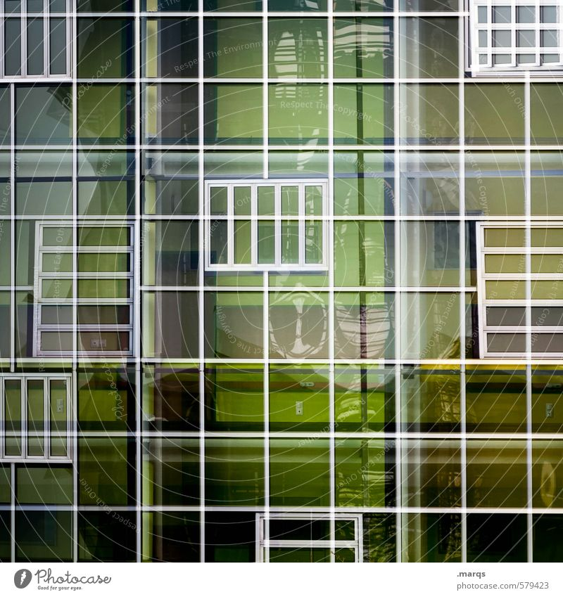 raster Elegant Style Design Facade Window Glass Metal Line Esthetic Exceptional Uniqueness Modern Green Colour Arrangement Colour photo Exterior shot Abstract