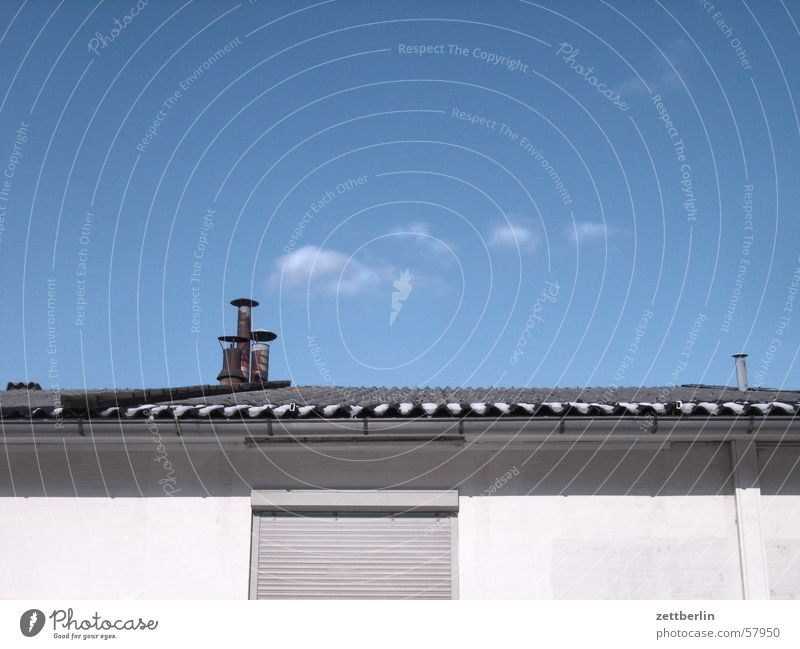 little cloud Clouds Corrugated sheet iron Midday Venetian blinds Closed Roller shutter Sky Chimney Sun