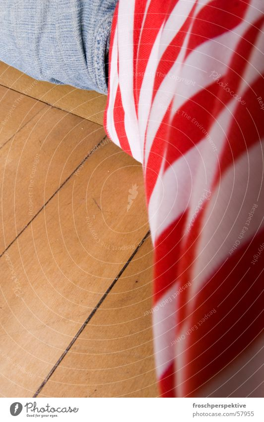 sleeping clown Sleep Dress Parquet floor Wood Man Stripe Striped Pants Shirt Red White Reddish white Multicoloured Lie Floor covering Human being Clown Jeans
