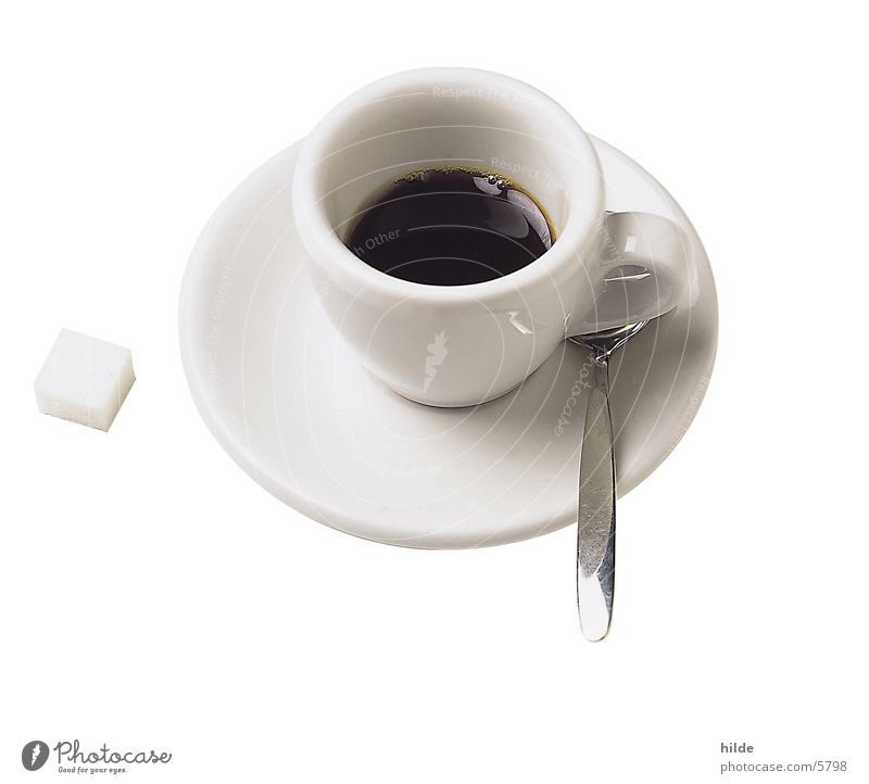 cafe Café Espresso Cup Lump sugar Black White Plate Spoon Beverage Relaxation Coffee porcelain