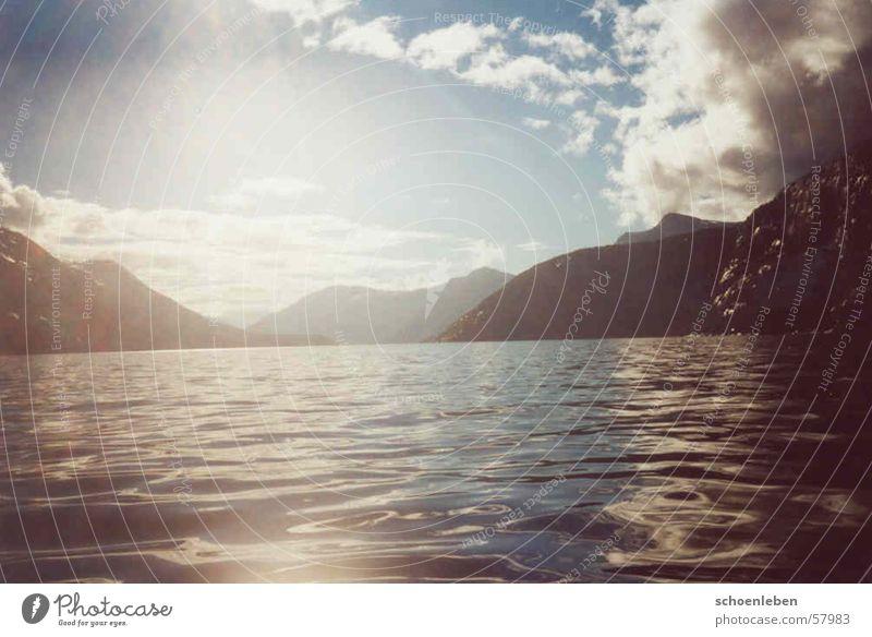 Water Sun Clouds Mountain Lake Dusk Norway