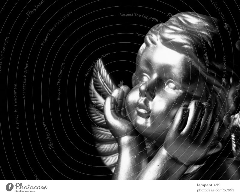 angels Think Dream Child Dark Glittering Fishing rod Innocent Angel Wing ponder Christmas & Advent Black & white photo