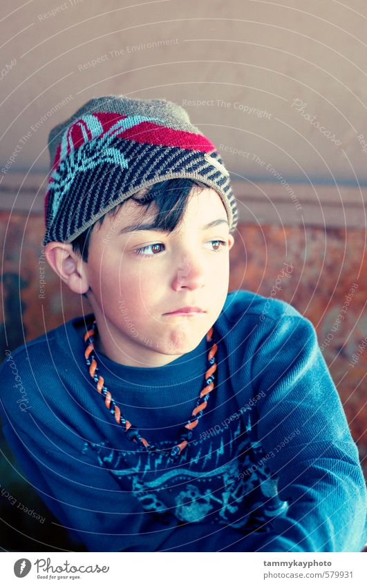 Cute boy in hat looking sad Child Boy (child) Youth (Young adults) 1 Human being 3 - 8 years Infancy Fashion Hat Looking Sadness Blue Moody Concern Grief