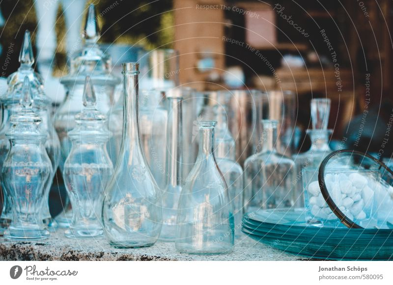 Bottle collection I Packaging Glass Esthetic Neck of a bottle Vase Containers and vessels Glassbottle Glazier Sell Flea market Flea market stall Blue