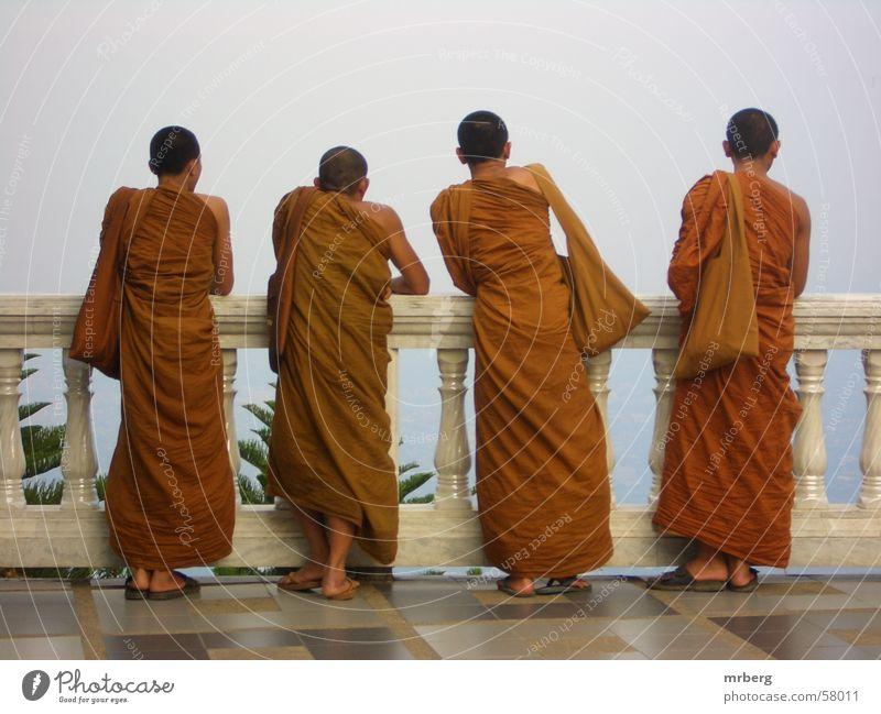 farsightedness Monk Far-off places Vantage point Religion and faith Asia Buddhism Orange