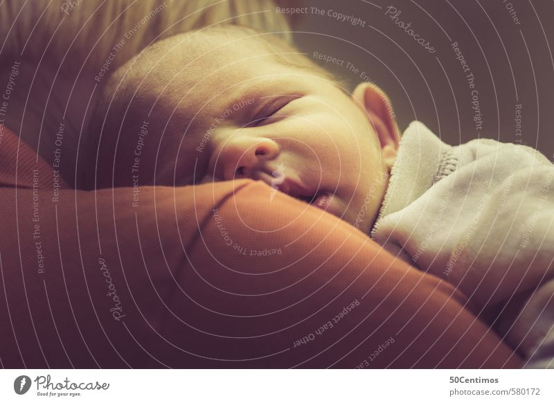 Sleeping baby on the shoulder Baby Woman Adults Mother 1 Human being 2 0 - 12 months Dream Beautiful Yellow Orange Red Feeble Colour photo Studio shot
