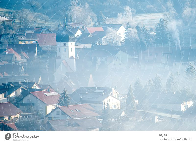 Village in the fog Winter House (Residential Structure) Nature Landscape Weather Fog Unterböhringen Germany Europe Church Blue Gray White Haze Fog bank Frost