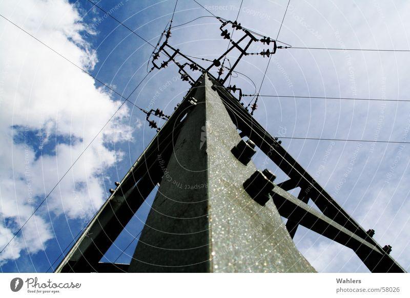 Sky Blue Clouds Electricity Steel Electricity pylon Mixture Atoms