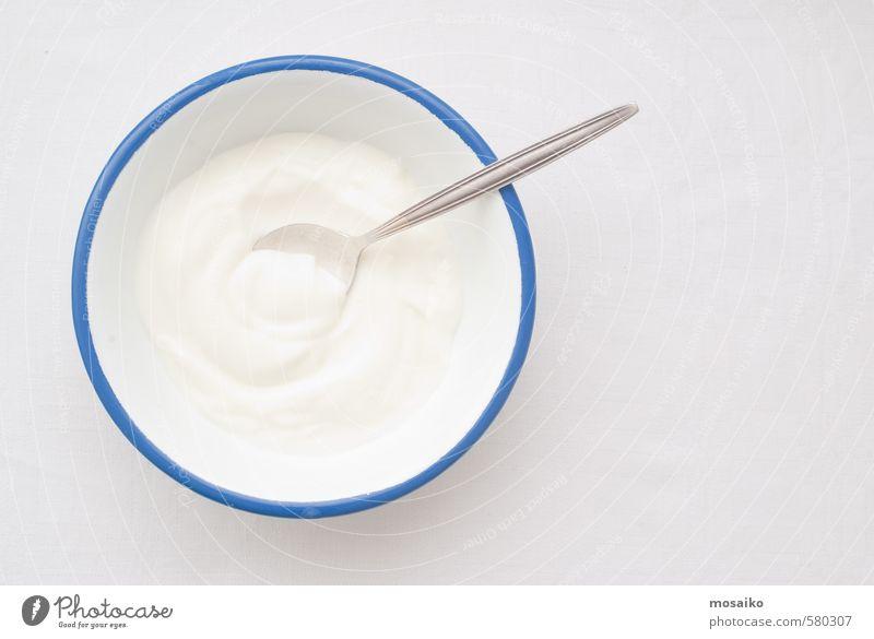 Natural Yogurt Nature Blue White Face Skin Fresh Nutrition Clean Wellness Breakfast Make-up Bowl Diet Pot Text