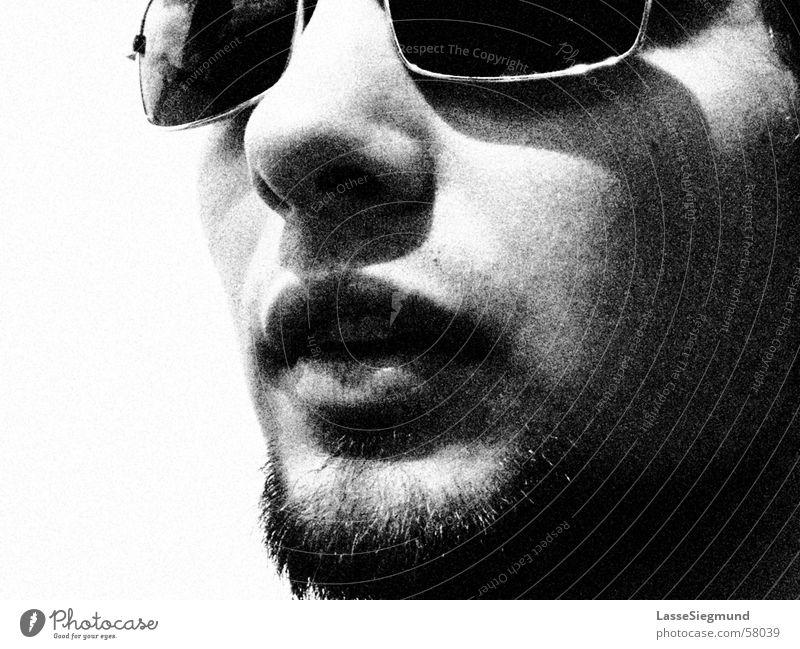 Portuguese locomotive driver with sunglasses Black White Summer Sunglasses Florian Black & white photo Nose Face Grain