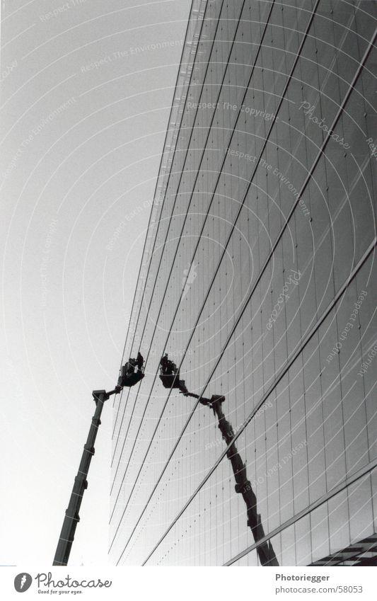 windscreen wiper Glas facade Crane Window Reflection Graphic Finland Black & white photo nokia mirror Architecture