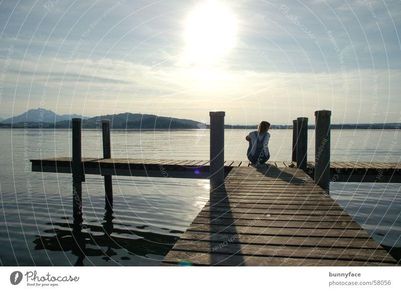 Water Sun Calm Loneliness Dream Lake Wait Hope Romance Vantage point Desire Footbridge Thought Loyalty Zugersee Lake