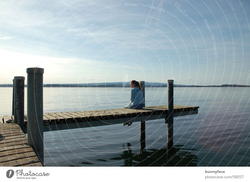 Water Blue Calm Loneliness Dream Lake Contentment Wait Hope Break Romance Desire Footbridge Switzerland Zugersee Lake
