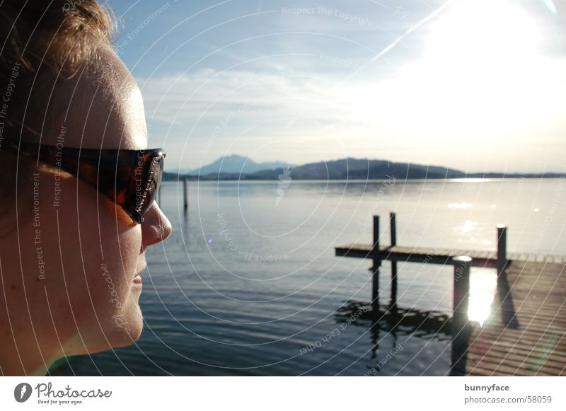 Woman Blue Water Sun Calm Lake Vantage point To enjoy Footbridge Sunglasses Zugersee Lake