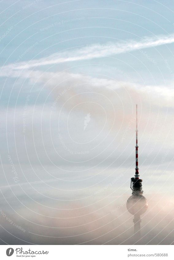 extractor hood Sky Clouds Beautiful weather Fog Berlin Berlin TV Tower Manmade structures Building Life Beginning Discover Mysterious Horizon Vacation & Travel