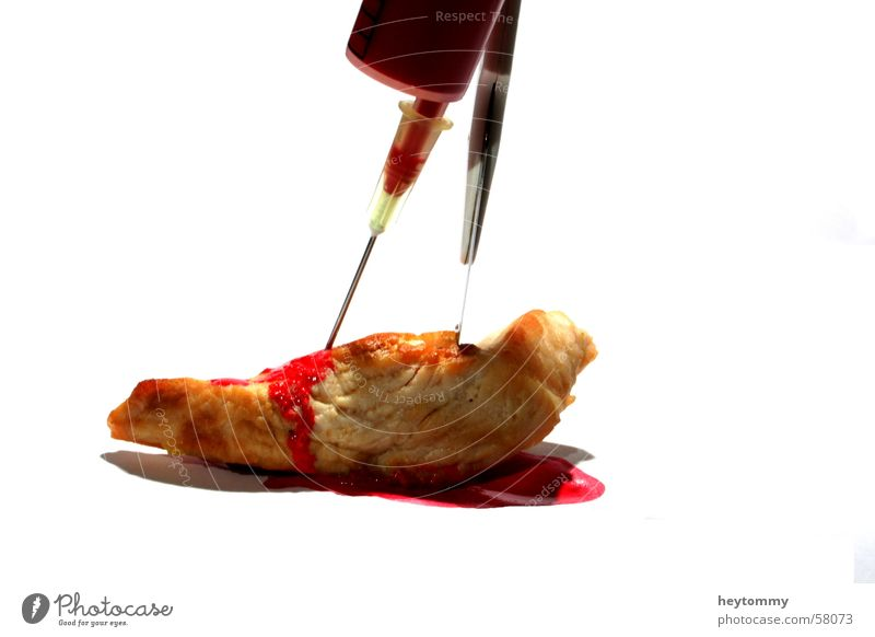 Bath taste Meat Syringe Health care Macro (Extreme close-up) Red Brutal Scalpel Watercolor Yuck Taboo Science & Research Clinical Poisoned Polluted Epidemic